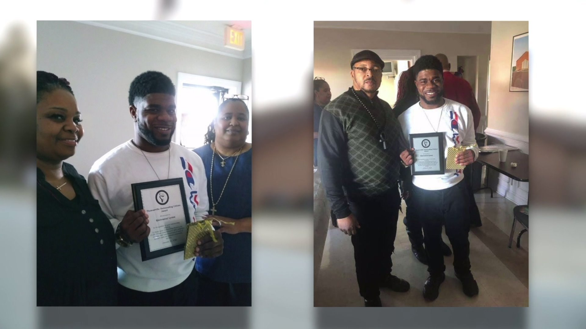 Kienivontai Lyons awarded for defending his family when an armed man broke into his home.
