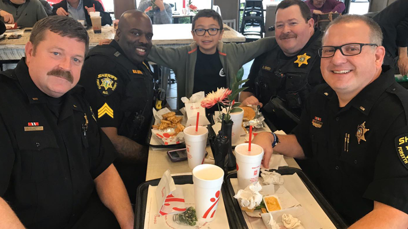 The Forsyth County Sheriff's Office posted to Facebook to thank Xander for an unexpected act of kindness at a local Chick-fil-A