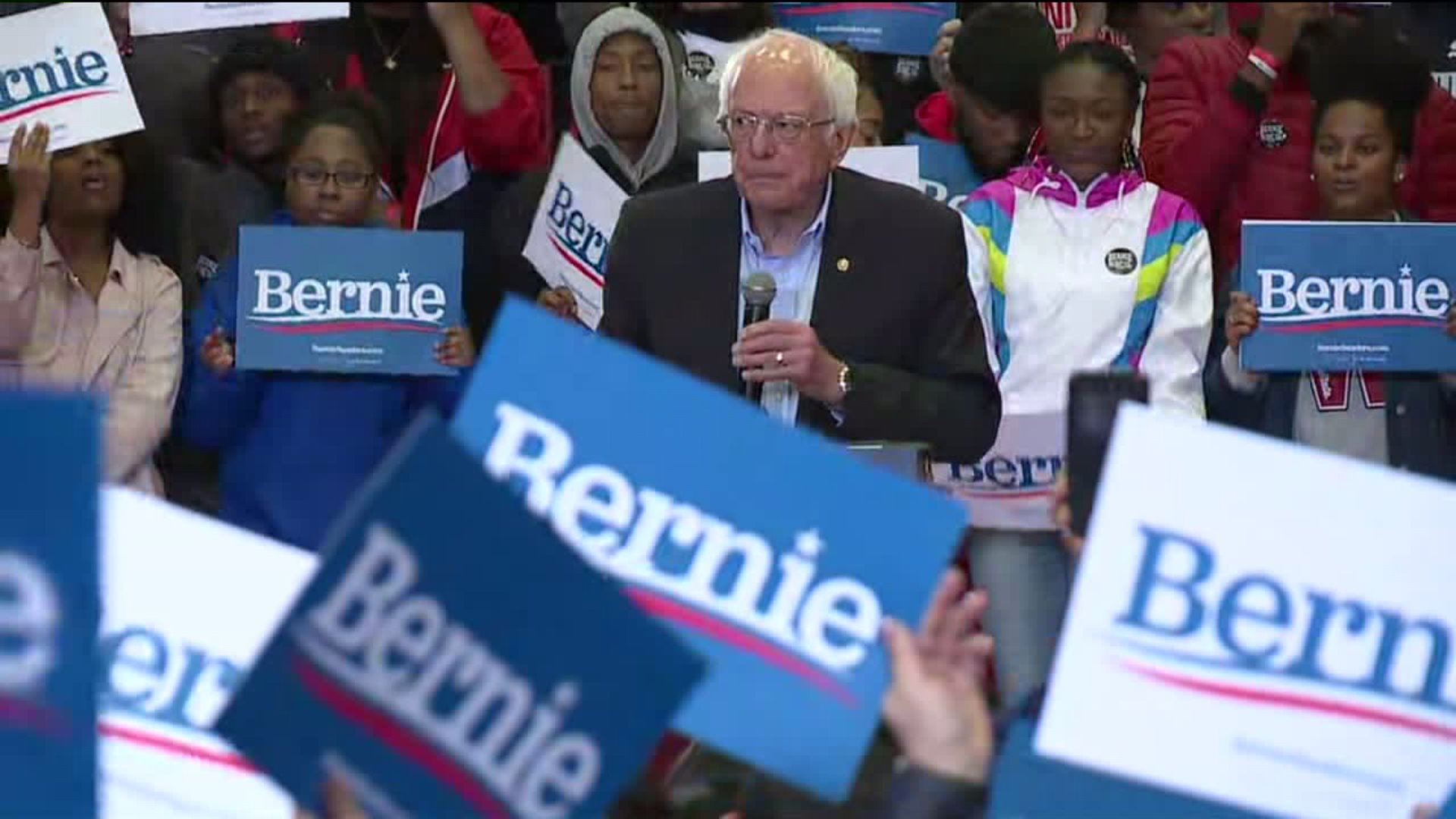 Bernie Sanders appears in Winston-Salem on Feb. 27, 2020. (WGHP)