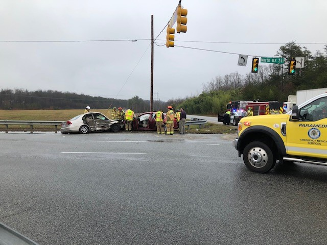 Crews on scene of High Point crash on US 311 ramp to I-85 Business. (David Weatherly/WGHP)