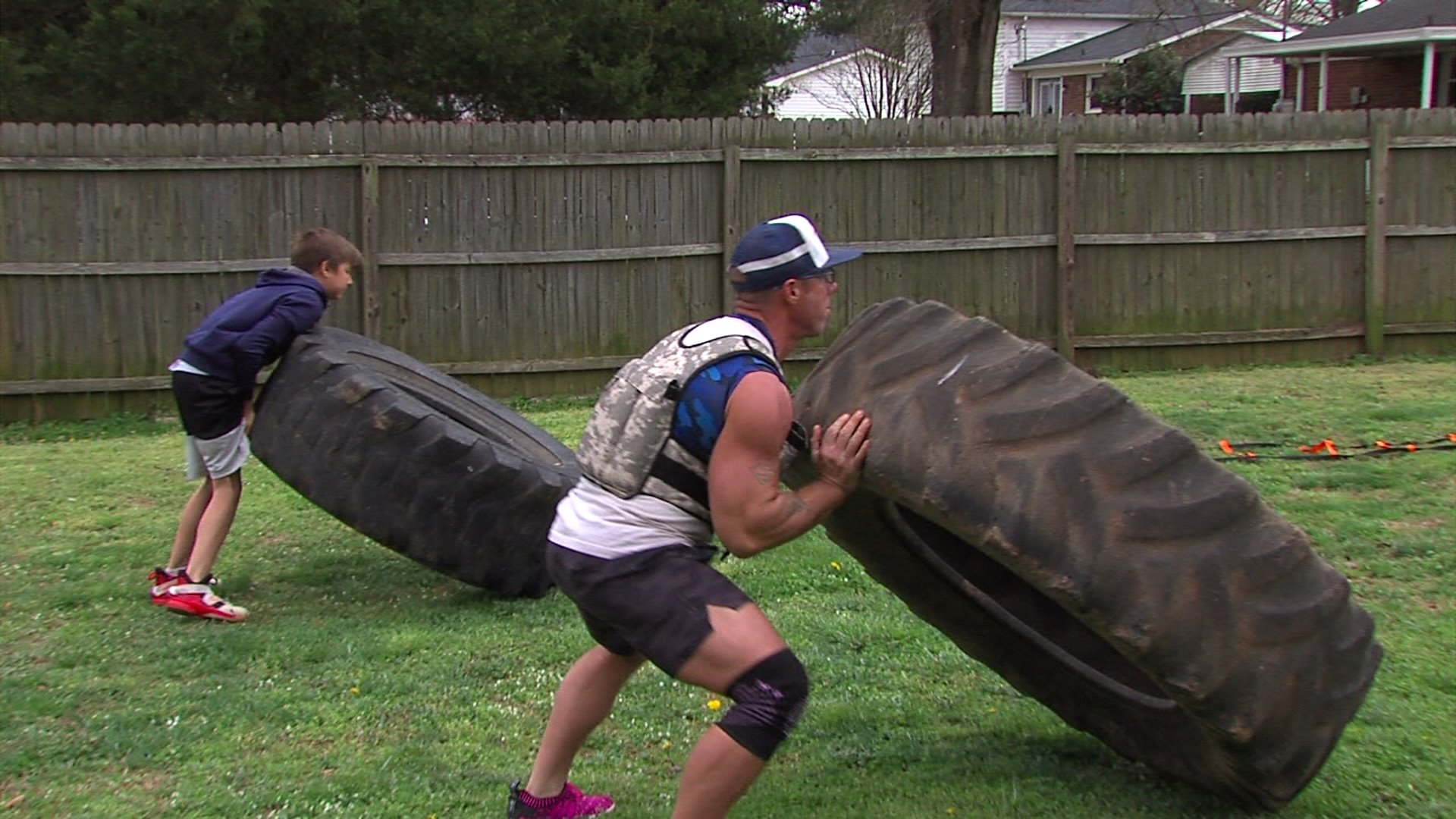Greensboro father, son set up backyard gym after North Carolina closes all gyms.