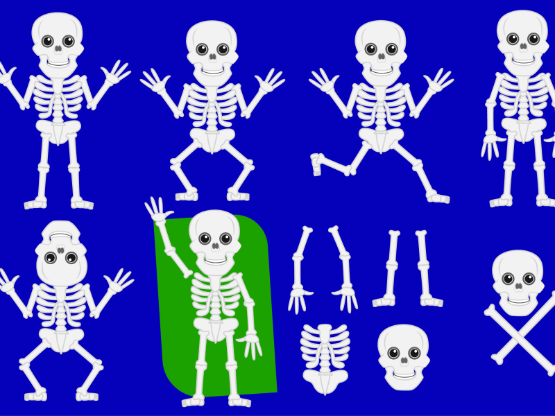 Cartoon Skeleton PNG and Vector Set