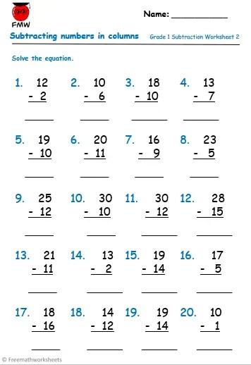 Grade 1 subtraction worksheet to help students develop their understanding of subtraction.