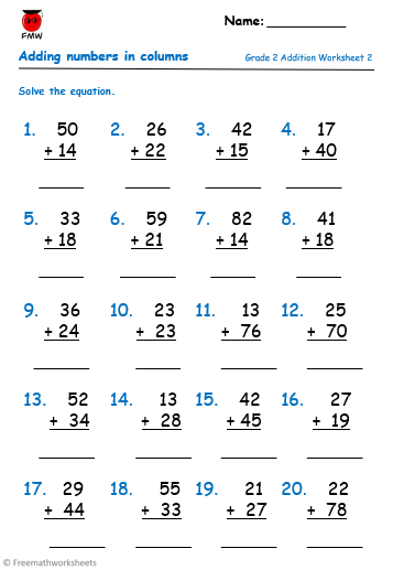 Grade 2 addition worksheet to help students develop their skills in adding numbers.