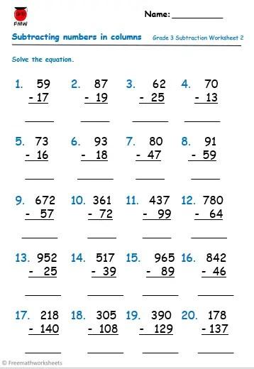 Grade 3 free subtraction worksheet.