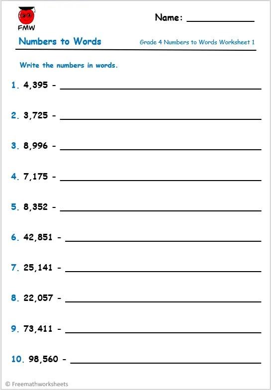 Grade 4 numbers to words worksheet.