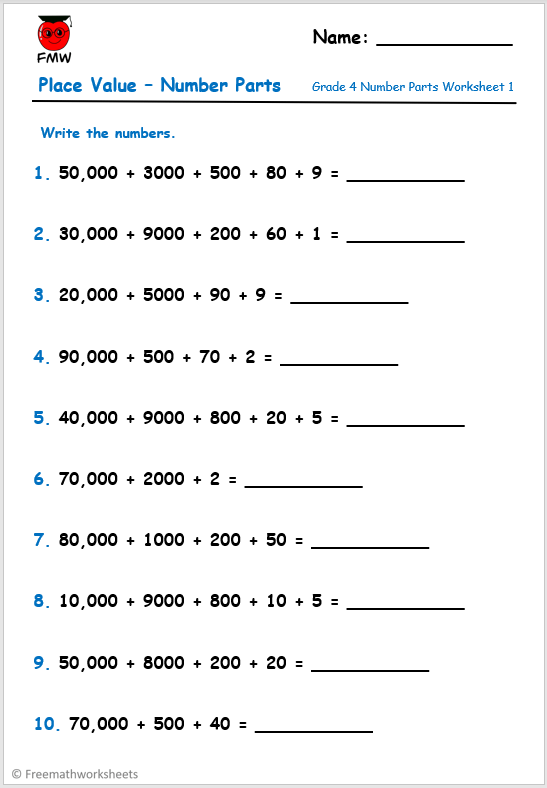 Grade 4 place value worksheet. Breaking numbers into parts.