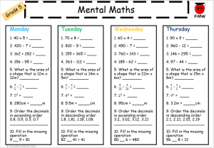 Grade 5 daily mental maths to help students develop their mental math skills.
