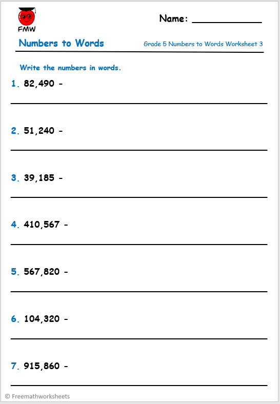 Grade 5 numbers to words worksheet for Mathematics.
