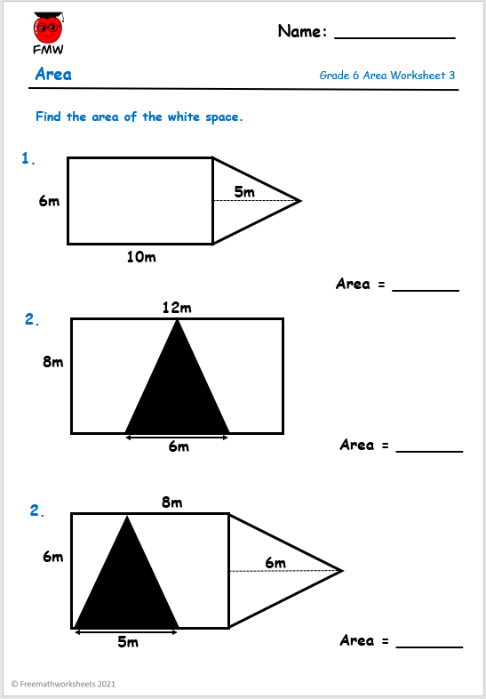 Grade 6 maths worksheet finding the area of compound shapes.