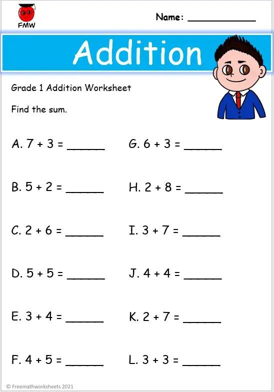 grade 1 addition worksheet