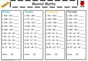 Grade 5 mental math worksheet