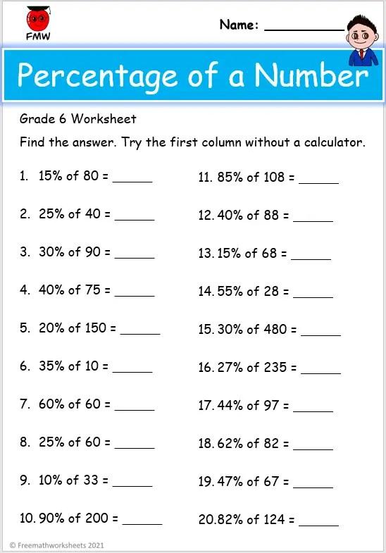 Grade 6 percentage worksheet
