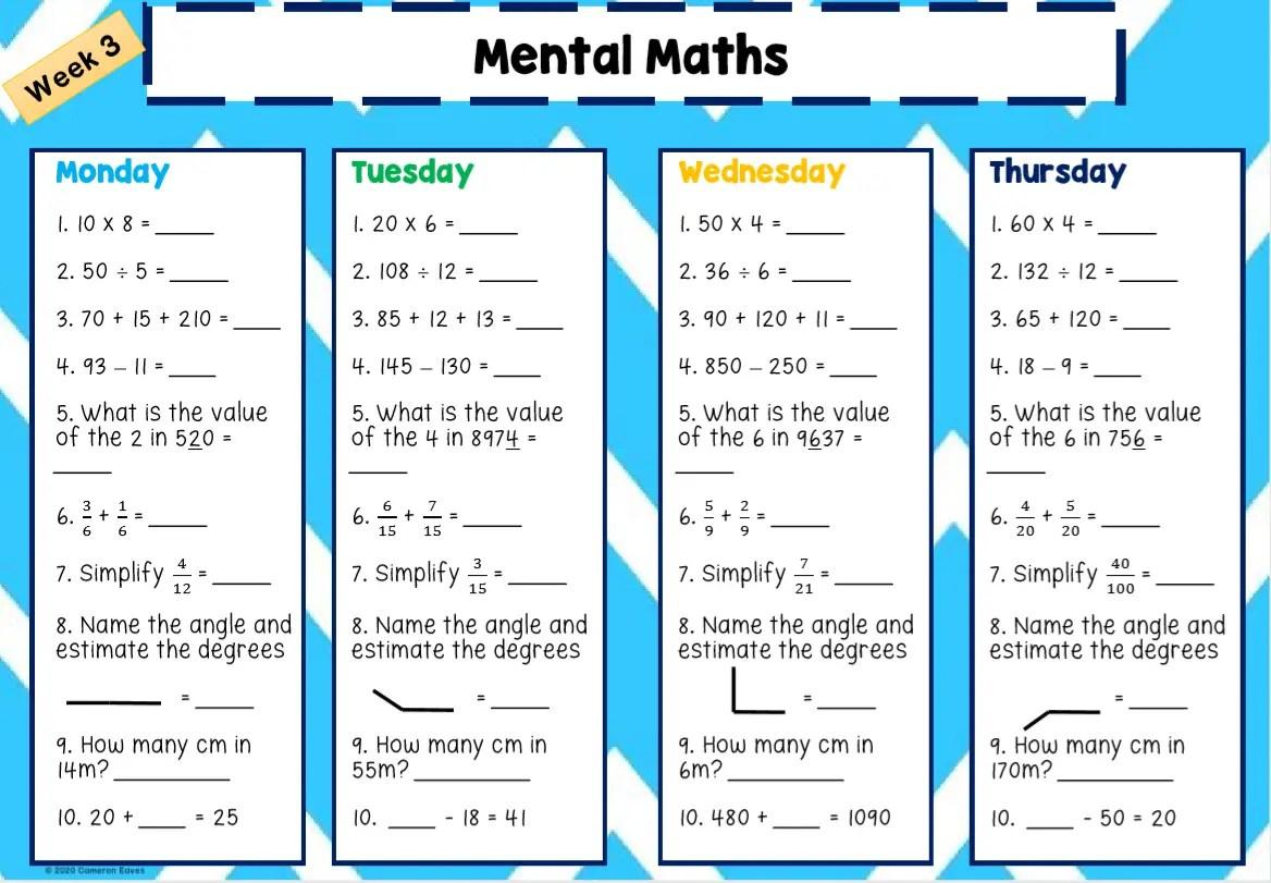 Mental Math Worksheets Grades 2-6 Free Worksheets Printables