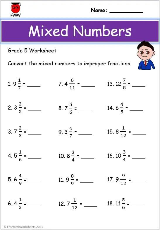Grade 5 improper fractions worksheet