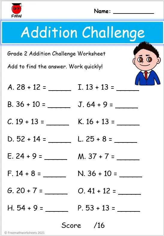 Grade 2 addition worksheets
