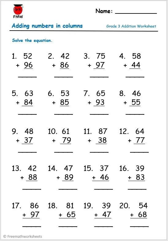Grade 3 addition worksheet