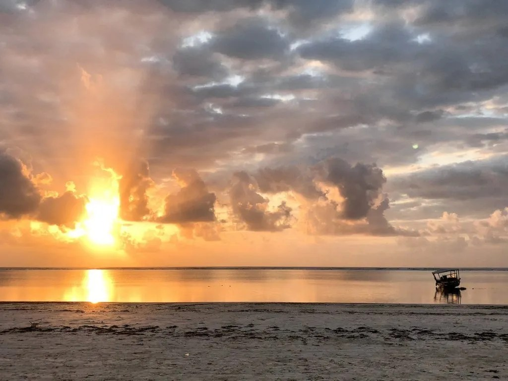 Sunrise over Zanzibar, family holiday destination.