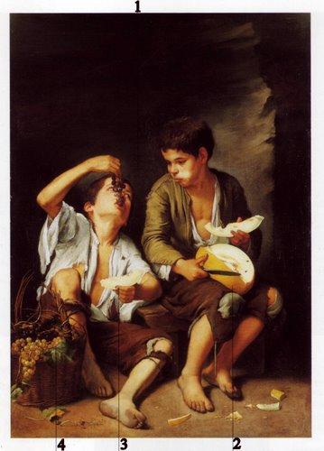 Jeunes garcons mangeant des fruits - bartolomé esteban Murillo(1645-46)
