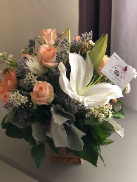 Lily and Pink Roses Bouquet