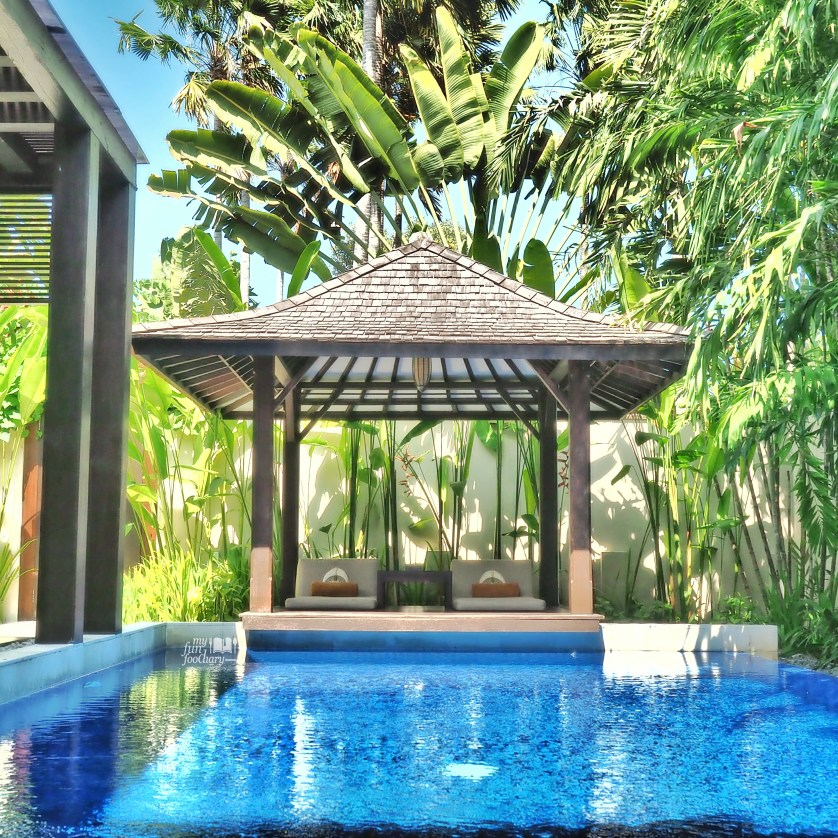 Pool and Gazebo View in my private villa - Villa De Daun Kuta Bali by Myfunfoodiary