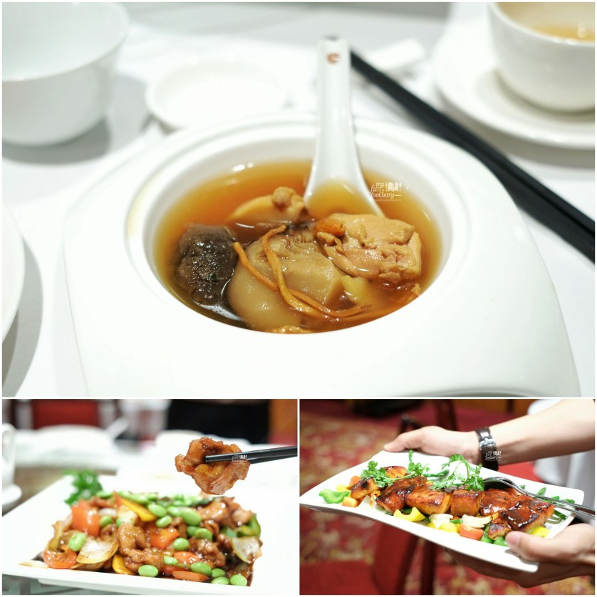 Soup and Salmon Fillet and Sliced Chicken in Oyster Sauce at Shang Palace Shangrila Surabaya by Myfunfoodiary