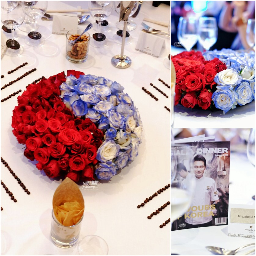 Korean Flag symbolic through fresh flowers on the table at the Gala Dinner by Edward Kwon - Shangri-La Jakarta by Myfunfoodiary