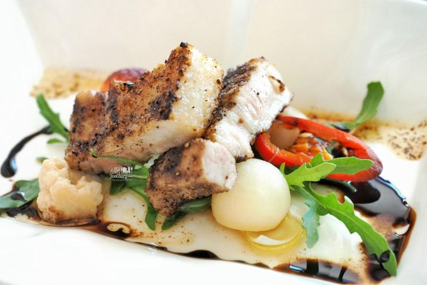 Pancetta: Grilled Kurobuta Pork Belly served with pickled vegetables