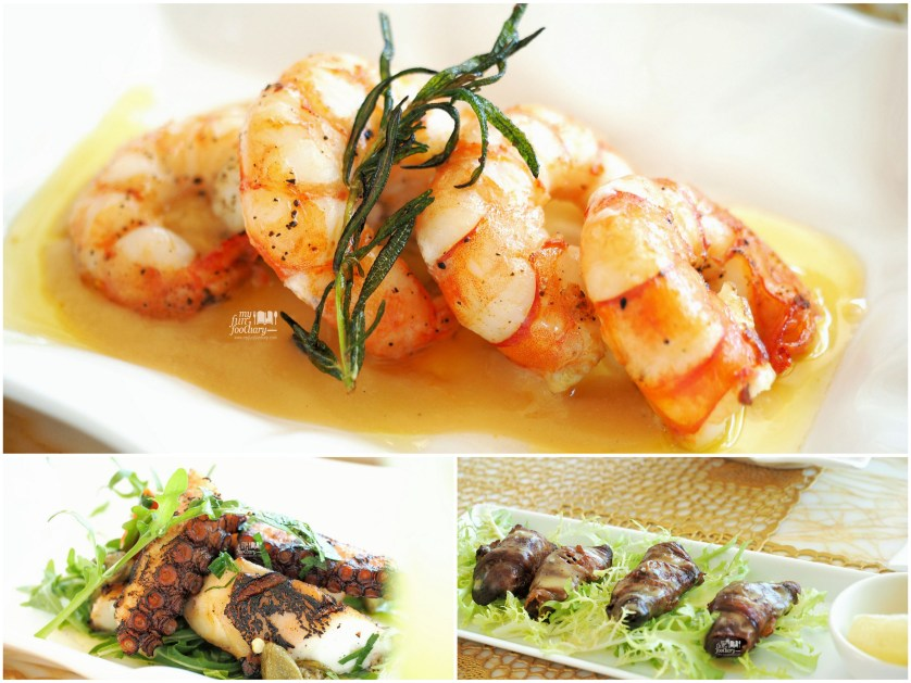 Seared Shrimp + Octopus and Crostini at Soleil Mulia Hotel by Myfunfoodiary