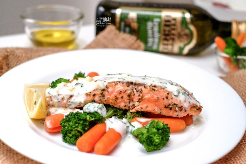 Close up Salmon Look for lunch using Filippo Berio by Myfunfoodiary