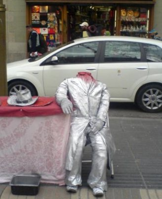 street performer headless man