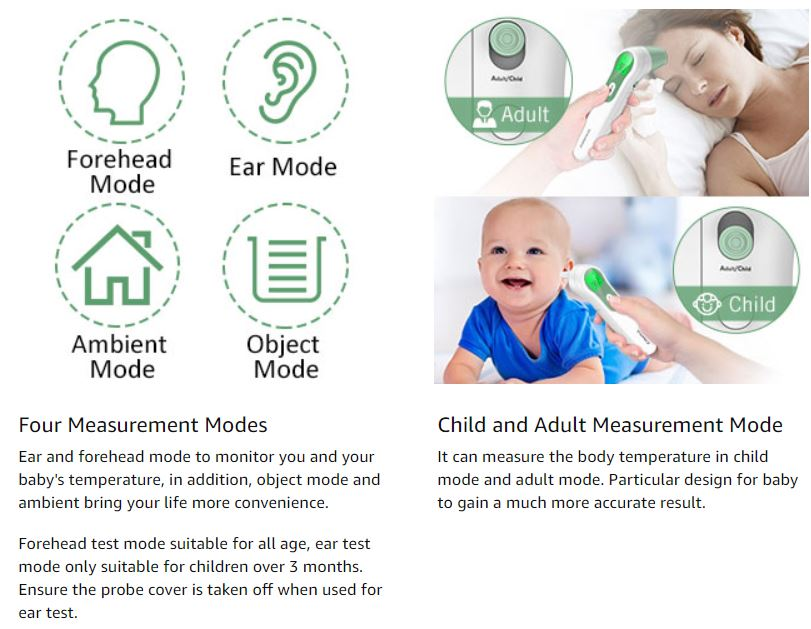 JUMPER Infrared Forehead and Ear Thermometer