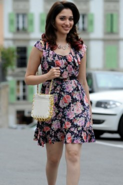 Oosaravelli Actress Tamanna Hot Pics in Floral Skirt
