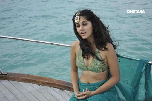 Taapsee-Pannu-Hot-Stills-In-Green-Saree-15