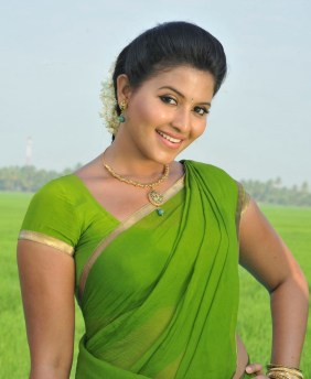 Actress Anjali Hot Green Saree Photos in Masala Movie
