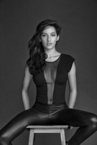 Actress Nora Fatehi in Black and Whilte