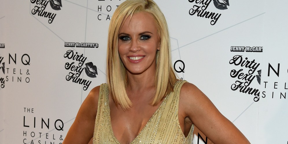 """LAS VEGAS, NV - SEPTEMBER 25: Actress/comedian Jenny McCarthy arrives at The LINQ to promote her """"Dirty Sexy Funny"""" comedy show on September 25, 2014 in Las Vegas, Nevada. The tour will kick off on September 26 at The Quad Resort & Casino in Las Vegas. (Photo by Ethan Miller/Getty Images)"""