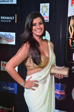 Varalakshmi in Cream Saree Sleeveless Backless Deep Neck Choli at IIFA Utsavam Awards March 2017 003