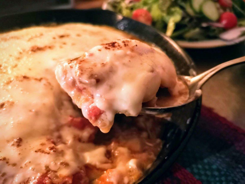 ズッキーニで作るムサカ風のレシピ―フライパン(スキレット)使用