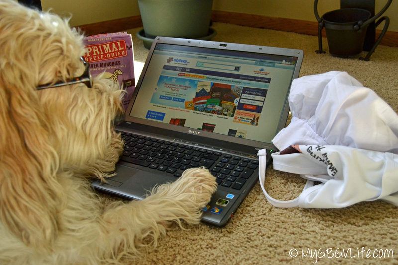 My GBGV Life ordering freeze dried treats from Chewy.com
