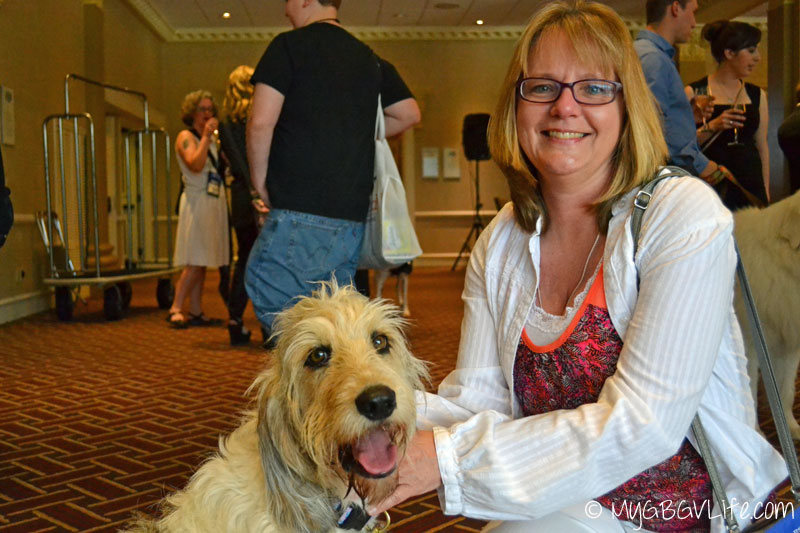 My GBGV Life PR Dog Bailie with jan at blogpaws 2015 in nashville