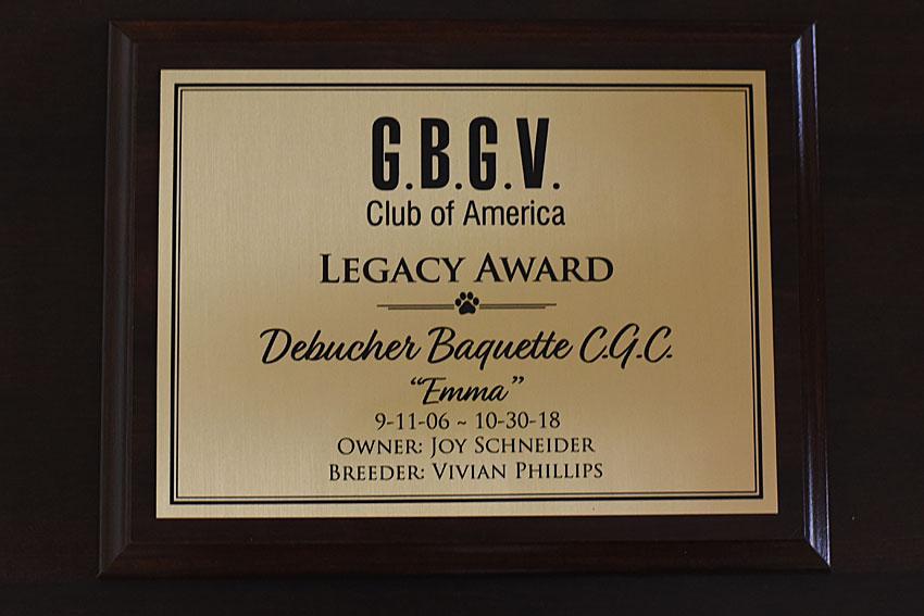 My GBGV Life The Legacy Award - Honoring Emma At The Awards Banquet