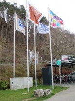 Flags outside the factory and museum