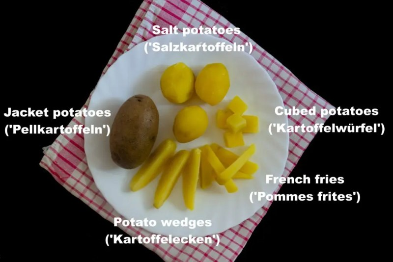 The different cuts of potatoes
