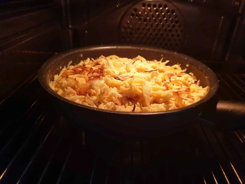 Baking the cheese spaetzle in the oven