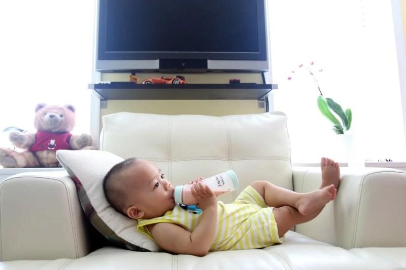 Baby drinking milk formula