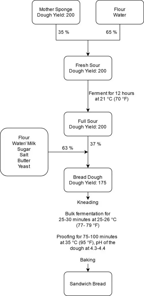 Process for american sourdough sandwich bread