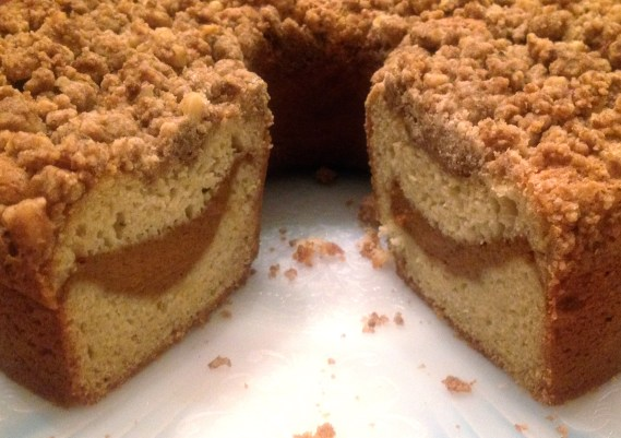 Cut Coffee Cake with Pumpkin Filling