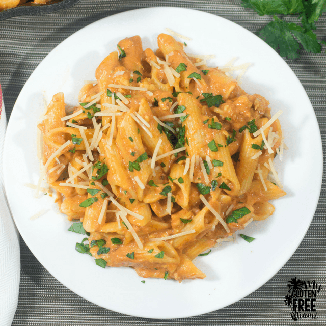 Penne with Spicy Vodka Sauce {Gluten Free}