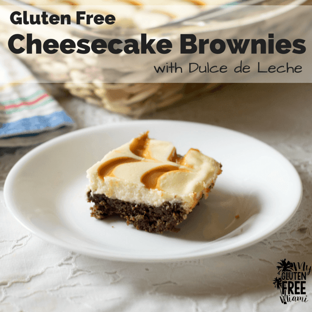 Gluten Free Cheesecake Brownies with Dulce de Leche
